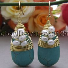 R102615 Pearl&Turquoise Earrings-Gold Plated Hook #Handmade #DropDangle