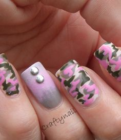 Pink fatigue camouflage nails! Can work with any color actually....