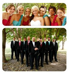 love the different wedding color dresses.