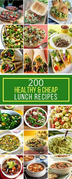 Healthy Recipes Cheap For Beginners - 200 healthy & cheap lunch recipes - prudent penny pincher Cheap Healthy Lunch, Cheap Healthy Dinners, Cheap Dinners, Frugal Meals, Easy Meals, Cheap Lunch Ideas, Lunch Recipes, Healthy Dinner Recipes, Healthy Snacks