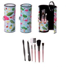 This handy makeup utensil kit contains a fantastic assortment of makeup and beauty utensils in a roll-up holder. Whether you are touching up your makeup on the go, or taking your time at home, this fun kit is compact and complete with everything you need, including a mini mirror. Single item, random design supplied. Dimensions: Height 11cm Width 4.5cm Depth 4.5cm Utensil Length 7 - 9cm (approx 4.5 x 2 x 2 inches; utensil 3.5 inches max) Makeup Utensils, Boutique Accessoires, Lime, Makeup Yourself, Flamingo, Water Bottle, Make Up, Mugs, Tableware
