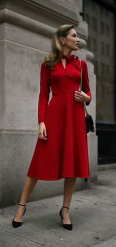 30 DRESSES IN 30 DAYS: Business Conference // Red long sleeve fit-and-flare tie-neck midi dress, black ankle-strap pumps, black leather crossbody bag {Black Halo, Sam Edelman, Gucci, wear to work, office style, what to wear to a business conference, conservative workwear, fall fashion, tie-neck dress, midi dress, fashion blogger}