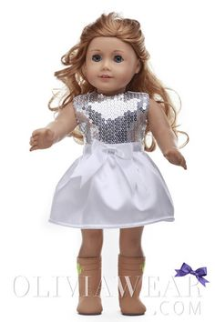 Party Collection American Girl #6 Shiny Top and White Skirt Dress