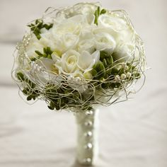 The FTD® Evermore™ Bouquet is a romantic display of modern sophistication. White roses, spray roses, freesia and hydrangea are accented with green hypericum berries and presented in an elegant gold wi Bridal Flowers, Flower Bouquet Wedding, Floral Wedding, Flower Bouquets, Fall Wedding, Bouquet Champetre, Same Day Flower Delivery, Bride Bouquets, Bridesmaid Bouquet