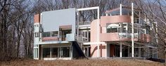Architect Michael Graves' Snyderman House (1972). Fort Wayne, Indiana. Private Residency. One of architecture's great postmodern creations, it was burned down by an arsonist in 2002.