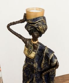 by Sandra June Originals. African Lady Tea-Light, Handmade Fabric Sculpture, totally unique.