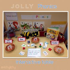 Jolly Phonics interactive table - sort the objects … Jolly Phonics Activities, Preschool Phonics, Phonics Games, Phonics Reading, Teaching Phonics, Kindergarten Literacy, Classroom Activities, Literacy Centers, Eyfs Classroom