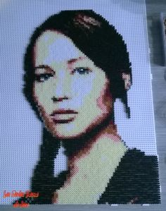 Katniss Everdeen - The Hunger Games portrait hama perler beads by Jessica Bartelet - Les perles Hama de Jess