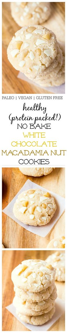 Healthy No Bake White Chocolate Macadamia Nut Cookies- Inspired by Subway's infamous cookies, these healthy white chocolate macadamia nut cookies are fudgy, chewy and require no baking at all! 1 bowl and 10 minutes is all you'll need to whip these beautie Gluten Free Cookies, Gluten Free Desserts, Vegan Desserts, Gluten Free Recipes, Vegan Recipes, Cooking Recipes, Paleo Vegan, Cookies Vegan, Protein Cookies