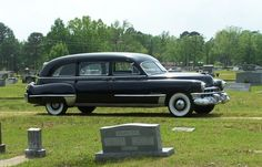 1949 Cadillac Superior Hearse - I love old Cadillac hearses! Not because I'm morose, but they could be fixed up as a cool Road Trip vehicle.Better yet,it could be a great Party Mobile.It would need a new energy efficient engine plus a lot more.
