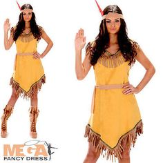 2f207e38cec Indian Girl Ladies Fancy Dress Wild West Native American Womens Adults  Costume
