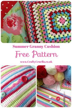 Summer Granny Cushion ~ a free crochet pattern by Crafty Cruella