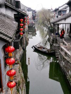 hanging lanterns, waterway
