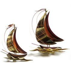 Brass and Copper Sailboats Jere Style Sailing Boat Pair Mid Century... (€20) ❤ liked on Polyvore featuring home, home decor and wall art