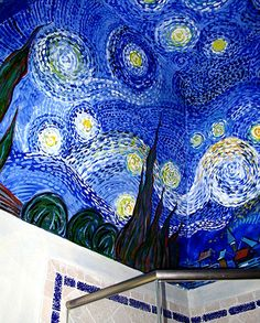 Starry Night inspired bathroom mural by Topitz Design