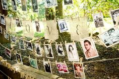 twine picture bunting.. i would add some glitter to the clothespins