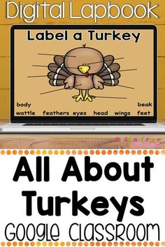 Teaching science digitally can be fun! Engage your students with these Google classroom Thanksgiving activities all about turkeys! Teach kindergarten standards CCSS.W.K.8 and CCSS.W.K.7 with this digital notebook that includes comparing types of turkeys, the turkey life cycle, facts, and so much more!