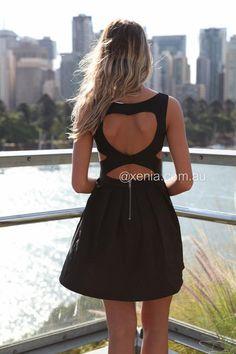 Heart Cut Out Dress-Back,Black