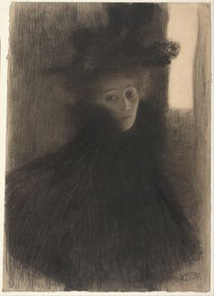 Gustav Klimt Poster Portrait Of A Lady With Cape And Hat 1897 1898