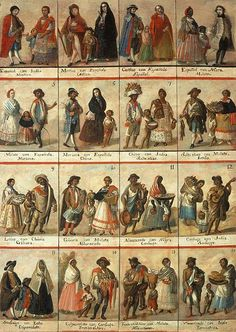 Anonymous - Las Castas (late eighteenth century) This image gives an account of 16 of the 53 different names that the Spanish-speaking elite of colonial Mexico gave for the various racial intermixtures. Jorge Gonzalez, Ap Spanish, Spanish Colonial, Spanish Class, New Spain, Exploration, Cultural Identity, African Diaspora, Black History