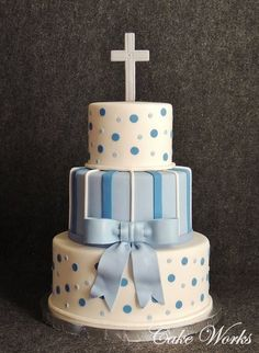 For a baby baptism party. The cake matched the party decor in shades of blue with white. Christening Cake Boy, Baby Baptism, Baptism Party, Christening Cakes, Baptism Ideas, Gateau Baby Shower Garcon, Fondant Cakes, Cupcake Cakes, Confirmation Cakes