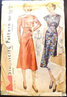 Vintage 1930's (1937-39) Simplicity Sewing Pattern #2363 Misses' Dress & Bolero
