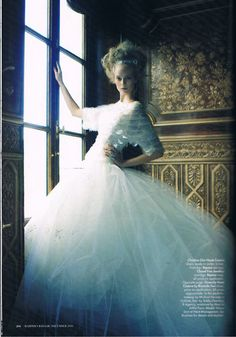 Nimue Smit by Victor Demarchelier for Harper's Bazaar Australia (December 2011). Christian Dior Haute Couture dress.