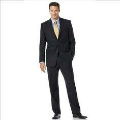 Lauren by Ralph Lauren Suit Total Comfort 2-Button Navy Stripe Wool - Size: 48R - 38W x 29L (3