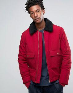 ASOS   ASOS Military Jacket With Borg Collar In Red Herrenjacken,  Frühlingsjacken, Adidas Originals adf7d6081b
