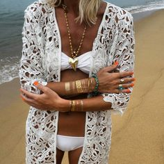 Beach style Lace, gold and turquoises. Metallic tattoos www.vavawoom.com/annamavridis
