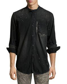 Washed Denim Mandarin-Collar Shirt, Black