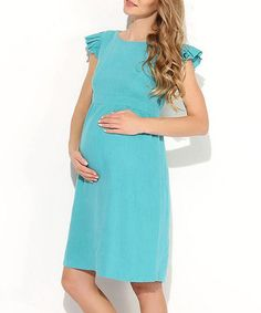 Loving this Blue Solid Maternity Angel-Sleeve Dress - Women on #zulily! #zulilyfinds