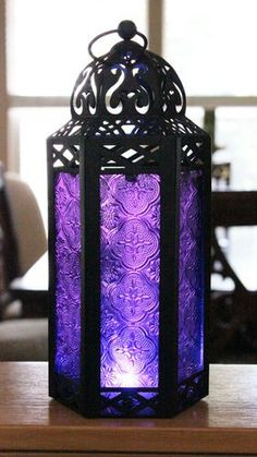 http://Amazon.com - Elegant Purple Table/hanging Hexagon Moroccan Candle Lantern Holders - Decorative Candle Lanterns