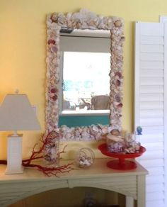 Seashell mirror- finally a purpose for all the shells i have in a box