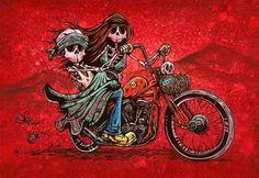 Day of the Dead Artist David Lozeau, Cruisin', Day of the Dead Art, Dia de los Muertos Art, Sugar Skull Art, Candy Skull, Skull Art, Skeleton Art