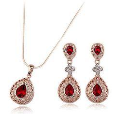 Galaxy Jewellery Swarovski Elements Parure composta da orecchini e collana con rubino e zirconia cubica: Amazon.it: Gioielli