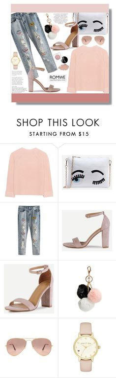 """Romwe"" by aminkicakloko ❤ liked on Polyvore featuring iHeart, GUESS, Ray-Ban and Kate Spade"