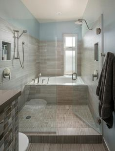 Contemporary Bathroom Design Ideas, Pictures, Remodel and Decor Bathroom Interior, Tub Shower Combo, Bathrooms Remodel, Wet Rooms, Beautiful Bathrooms, Modern Contemporary Bathrooms, Small Bathroom Remodel, Remodel Bedroom, Bathroom Layout