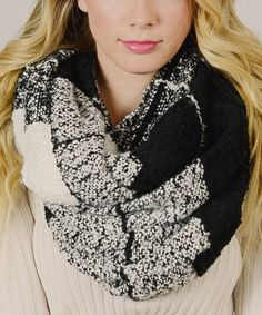 Look at this #zulilyfind! Black Windowpane Infinity Scarf #zulilyfinds