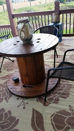 Electrical Spool Prefect for table on our deck.  Stained and now enjoying.