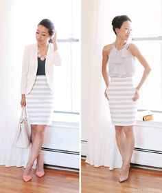 Bloggers We Love: ExtraPetite styles summer stripes from desk to dinner in Sole Society