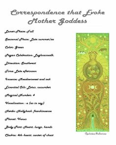 "Mother Goddess Correspondence words from ""A Year and a Day"" book (Opalraines Production) Any other posted of this have been taken from here and not credited. This is a repost as I have incorporated my name better Maiden Mother Crone, Mother Goddess, Goddess Pagan, Pagan Gods, Wiccan Art, Wiccan Spells, Witchcraft, Easy Spells, Wiccan Crafts"