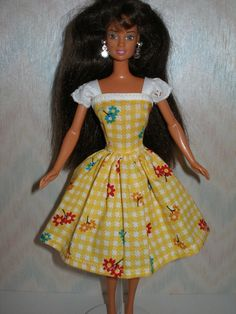Handmade Barbie clothes  yellow and white by TheDesigningRose, $8.00