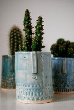 $25 / Little ceramic succulent planter pot in pale blue shiny glaze