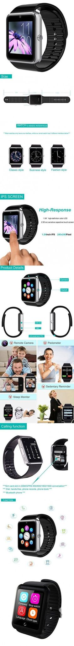 Smart Watch, YAMAY Universal Bluetooth Smartwatch Phone with Sim Card Slot Unlocked Fitness Tracker Pedometer Texting for iPhone Android Samsung LG Phones for Running Sport Outdoor Women Men Girls #LGPhones #andriodwatchesforwomen