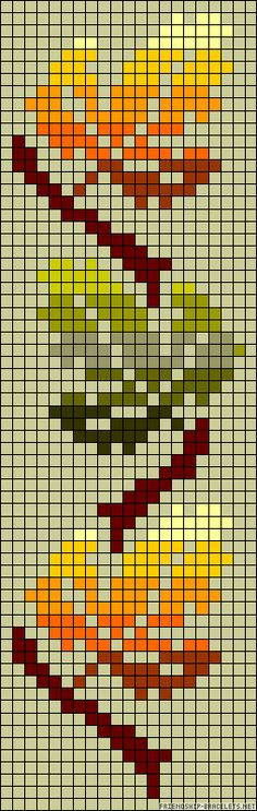 Autumn leaves perler bead pattern that could easily be a fairisle knit pattern