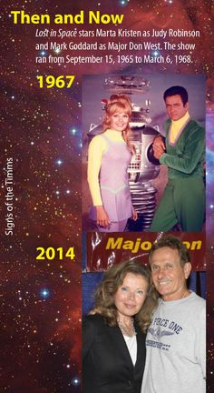 """""""Lost in Space"""" stars Marta Kristen as Judy Robinson and Mark Goddard as Major Don West. The show ran from September 15, 1965 to March 6, 1968. Here's a publicity shot for the 1967 season and a recent shot of the co-stars. #lostinspace #judyrobinson #majordonwest #irwinallen #dangerwillrobinsondanger #thenandnow #signsofthetimms"""