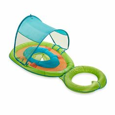 This colorful, inflatable float, for ages 9 to 24 months, is perfect for spending time in the water together with your child. In a green turtle design, the Baby Spring Float features a cozy seat for your baby along with a detachable float rest for you.