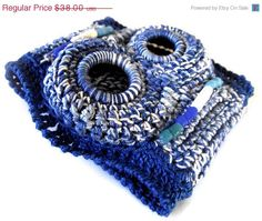 ON SALE Shades of Blue Crochet Cuff by LionessXpressions on Etsy, $34.20