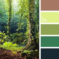 azul oscuro, azul turquí, chocolate, color verde hierba, color verde hoja, de color verde lechuga, elección del color, marrón, matices de color verde, selección de colores, tonos verdes, verde lechuga vivo.